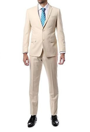 Skinny Fitted Suits Beige 2 Button Lucci US-2PP