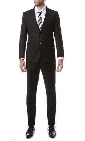 Skinny Fitted Suits Black Tight Fitting Men's Suits 2 Button Lucci US-2PP