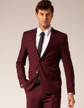 Skinny Fitted Suits Burgundy Maroon 2 Button Lucci US-2PP