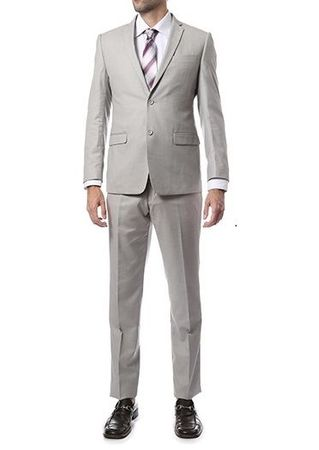 Skinny Fitted Suits Medium Gray 2 Button Lucci US-2PP