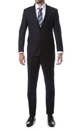 Skinny Fitted Suits Navy Blue 2 Button Lucci US-2PP