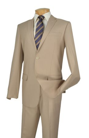 Beige Slim Fit Suit by Vinci Mens 2 Button SC900-12