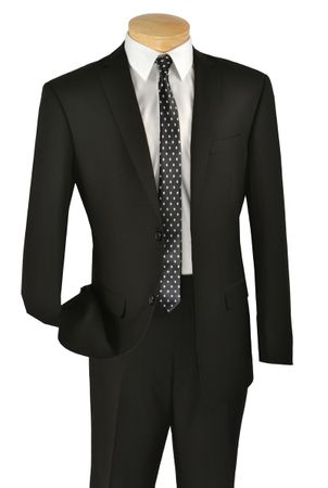 Black Slim Fit Suit Men's Solid Color Two Button Vinci SC900-12