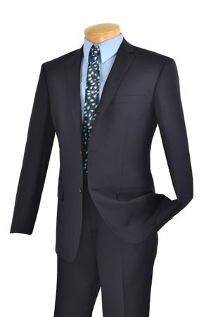 Navy Slim Fit Suit by Vinci Men's 2 Button SC900-12   - click to enlarge