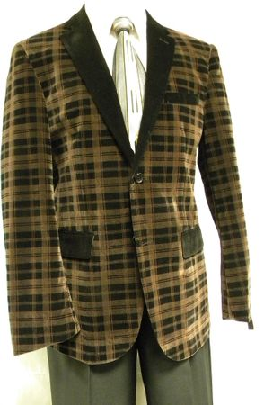 Carmashi Mens Brown Plaid Velvet Fashion Jacket B6082 Final Sale