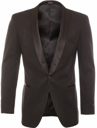 Ferrecci Tuxedo Blazer Modern Fit Black Snake Pattern Ash - click to enlarge