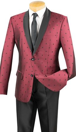 Slim Fit Designer Tuxedo Shiny Burgundy Polka Dot Jacket Suit S2DR-5