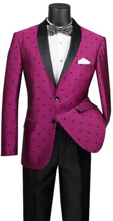 Slim Fit Designer Tuxedo Shiny Fuchsia Polka Dot Jacket Suit S2DR-5