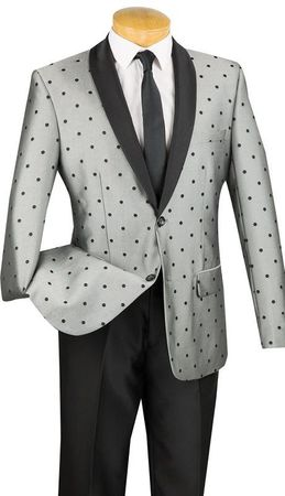 Slim Fit Designer Tuxedo Shiny Gray Polka Dot Jacket Suit Vinci S2DR-5