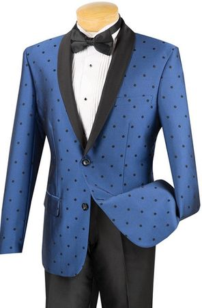 Slim Fit Designer Tuxedo Shiny Royal Blue Polka Dot Jacket Suit S2DR-5