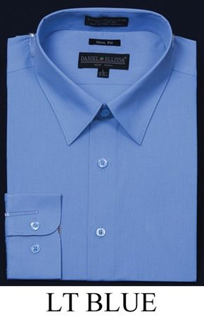 Light Blue Slim Fit Dress Shirt Mens Long Sleeve Light Blue DE DS3003