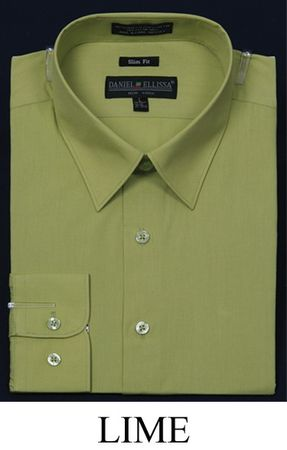 Lime Green Slim Fit Dress Shirt Mens Long Sleeve DE DS3003