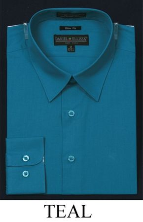 Teal Slim Fit Dress Shirt Mens Long Sleeve DE DS3003