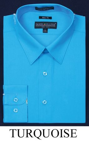Slim Fit Dress Shirt Mens Long Sleeve Turquoise DE DS3003
