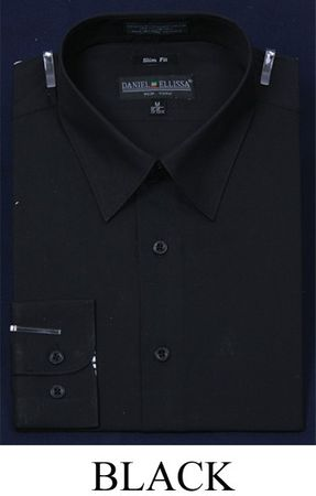 Slim Fit Dress Shirts Mens Black Long Sleeve DE DS3003