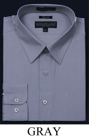 Slim Fit Dress Shirts Mens Gray Long Sleeve DE DS3003