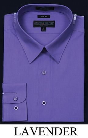 Slim Fit Dress Shirts Mens Lavender Long Sleeve DE DS3003