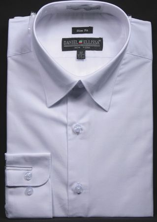 Slim Fit Dress Shirts Mens White Long Sleeve DE DS3003
