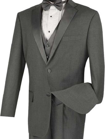 Gray Tuxedo Mens 4 Piece Vest Wedding Tux Vinci 4TV-1 - click to enlarge