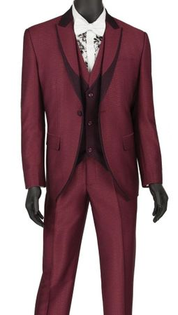 Slim Fit Fashion Tuxedo Burgundy 3 Piece Fancy Vest Vinci SV2R-5