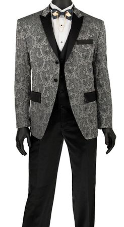 Gray Slim Fit Fashion Tuxedo Paisley Jacket 3 Piece Vinci T-SF