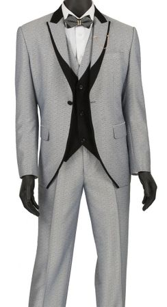Slim Fit Fashion Tuxedo Silver 3 Piece Fancy Vest Vinci SV2R-5