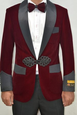 Mens Burgundy Velvet Shawl Collar Jacket Alberto Smoking  - click to enlarge