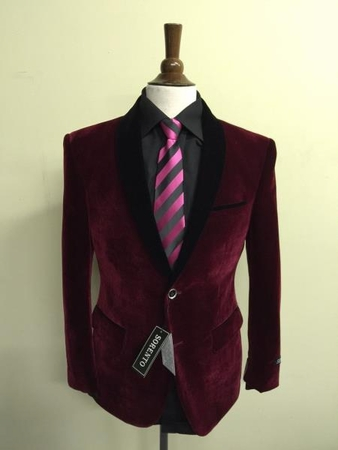 Sorrento Slim Fit Burgundy Velvet Blazer Size 36R Final Sale - click to enlarge