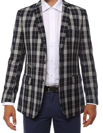 Ferrecci Mens Navy Slim Fit Plaid Checker Blazer Preston
