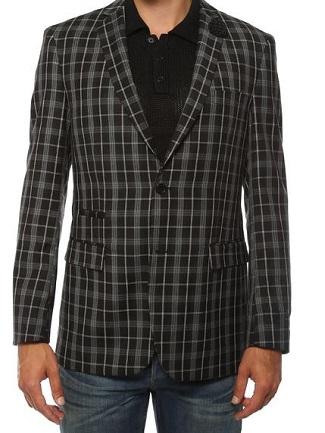 Ferrecci Mens Slim Fit  Black  Plaid Checkered Blazer Alton