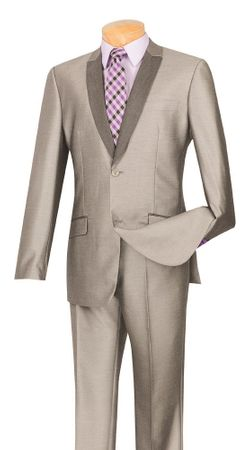 Slim Fit Prom Suit by Vinci Mens Shiny Flashy Grey S2PS-1