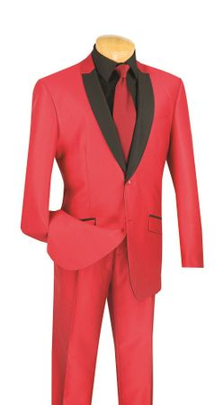 Slim Fit Prom Suit by Vinci Mens Shiny Red S2PS-1 - click to enlarge