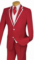Slim Fit Prom Suits by Vinci Mens Red Stripe 3 Piece SVFF-1