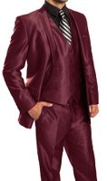 Slim Fit Shiny Burgundy Suit 3 Piece Tazio M163S