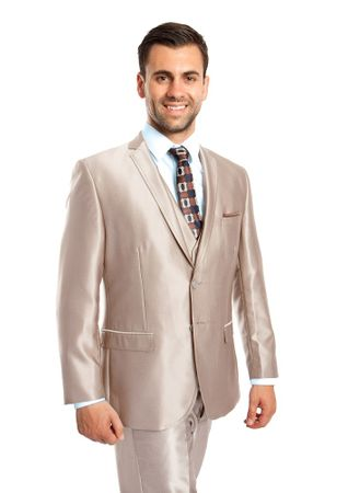 Slim Fit Trim Shiny Champagne Beige Skinny Suit 3 Pc. Tazio M163S - click to enlarge