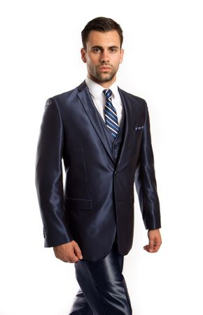 Slim Fit Young Man Style Shiny Navy Suit Tight 3 Piece Tazio M163S-08