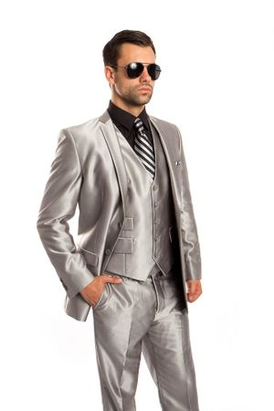 Slim Fit Young Man Shiny Silver Fitted Suit 3 Piece Tazio M163S-06 - click to enlarge