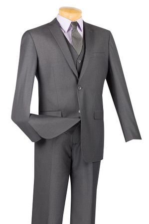 Slim Fit Suits Men's 3 Piece Heather Charcoal Textured Solid SV2900