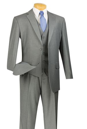 Slim Fit Suits Men's 3 Piece Gray Textured Solid SV2900