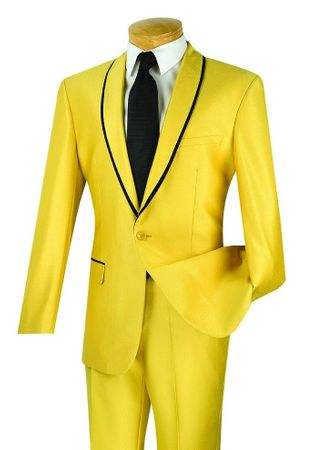 Vinci Men's Gold Shawl Collar Shiny Slim Fit Suit SSH-1 - click to enlarge