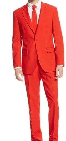 Red Slim Fit Suit 2 Piece Tight Fitting 1960s Style Vinci SC900-12