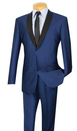 Vinci Men's Slim Fit Blue Sharkskin Tuxedo Style Suit S2PS-1