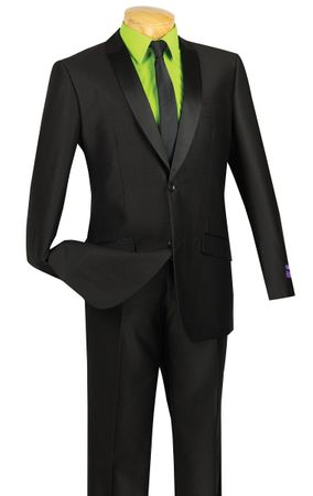 Vinci Men's Slim Fit Black Glossy Finish Sharkskin Style Tuxedo Suit S2PS-1