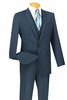 Vinci Navy Textured Solid 3 Piece 1960s Slim Fit Suits SV1R-1 htm