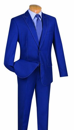 Slim Fit Suits for Men Fancy Blue Stitch Fancy Style Vinci S2MS-1 - click to enlarge