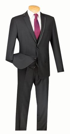 Slim Fit Tuxedo with Vest 3 Piece Black Tux SV2T-8 - click to enlarge
