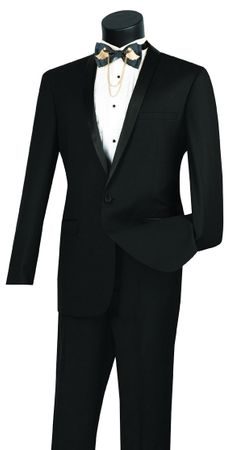 Slim Fit Tuxedo for Men Black 1 Button Tux Vinci T-SS