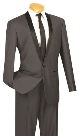 Slim Fit Tuxedo for Men Grey 1 Button Tux Vinci T-SS