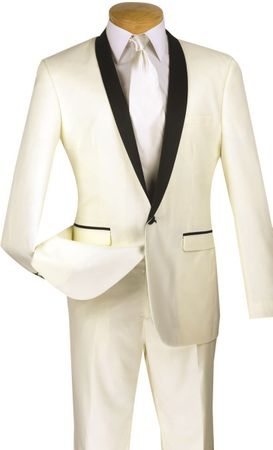 Slim Fit Tuxedo Men Ivory Cream Black Lapel 1 Button Tux Vinci T-SS