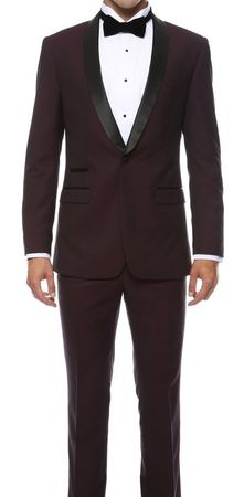 Slim Fit Tuxedo Men's Burgundy Wine 1 Button Ferrecci Reno